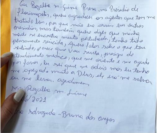 Em carta, acusada de matar grávida em Canelinha diz que pensa em suicídio – Foto: Bruna dos Anjos/Reprodução