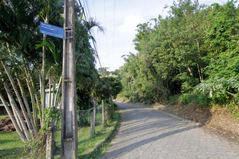 Rua do professor Gomes era rota de Belchior no Ribeirão da Ilha (foto atual) – Foto: Leo Munhoz/ND