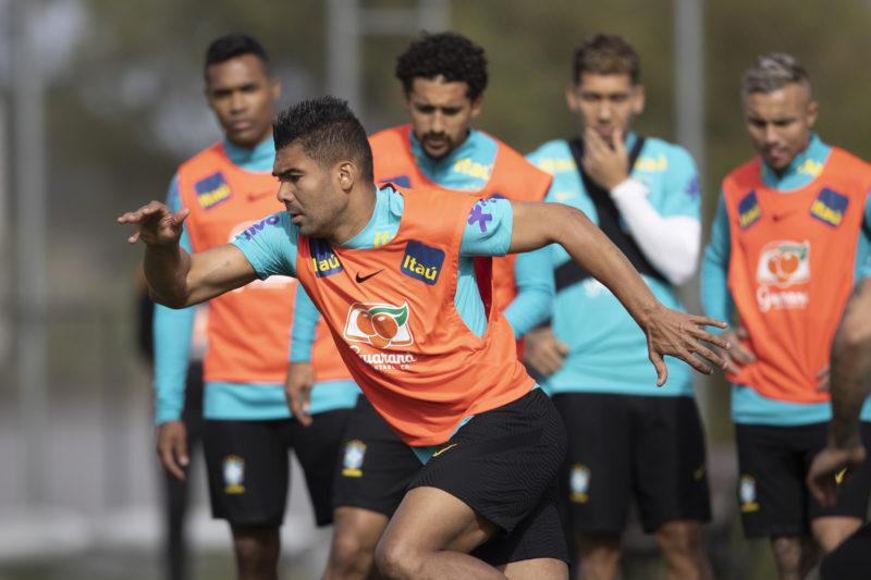 Casemiro durante treino da Seleção. Jogador deu declaração forte após a vitória contra o Equador – Foto: Lucas Figueiredo/CBF