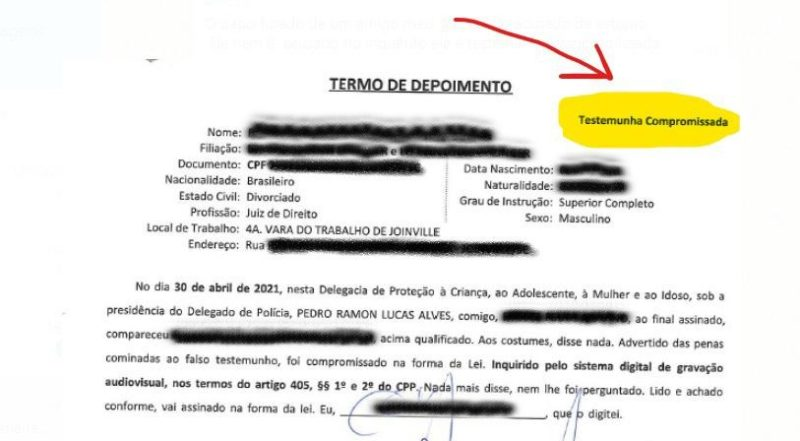 Documento coloca o juiz como testemunha do caso, e não como suspeito – Foto: Divulgação/ND