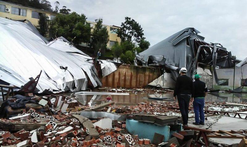 Ciclone bomba causou estragos no município de Palmitos em 2020 – Foto: Defesa Civil/Divulgação/ND