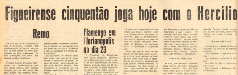 Anúncio e expectativa pelo jogo diante do Hercílio Luz – Foto: Acervo Jornal O Estado/Hemeroteca SC
