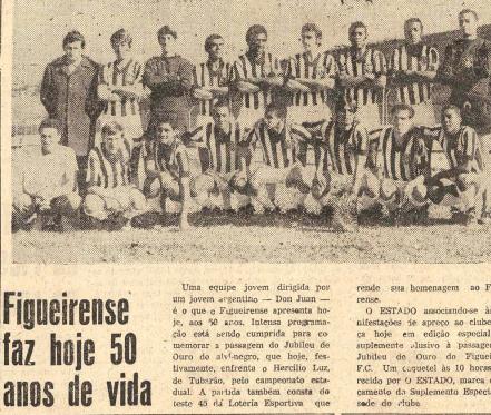 Capa do Jornal O Estado (13.06) anunciando o cinquentenário do Figueirense – Foto: Acervo Jornal O Estado/Hemeroteca SC