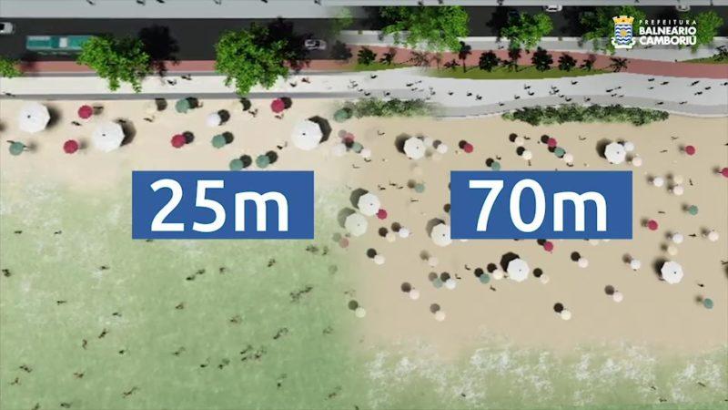 Vídeo mostra passo a passo da obra de alargamento da Praia Central de Balneário Camboriú – Foto: Prefeitura de BC/Divulgação
