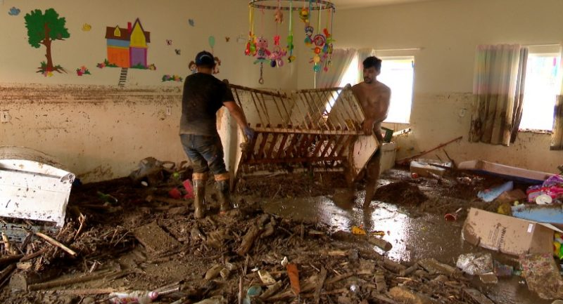 Enxurrada destruiu creche em Presidente Getúlio – Foto: Arquivo/NDTV Blumenau