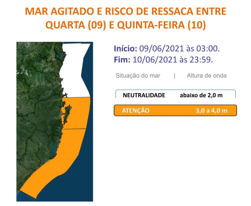 Defesa Civil alerta para mar agitado e risco de ressaca nesta quarta-feira – Foto: Defesa Civil/Divulgação/ND