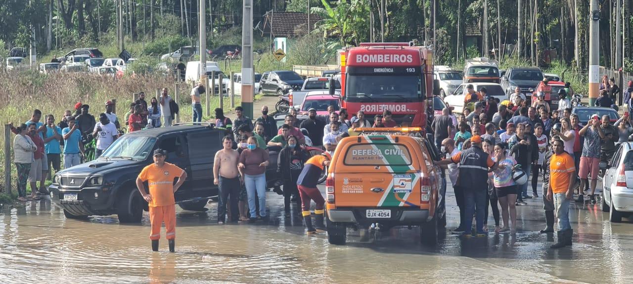 Camboriú foi uma das cidades mais afetadas pelas chuvas no Litoral Norte de SC - Defesa Civil/Divulgação