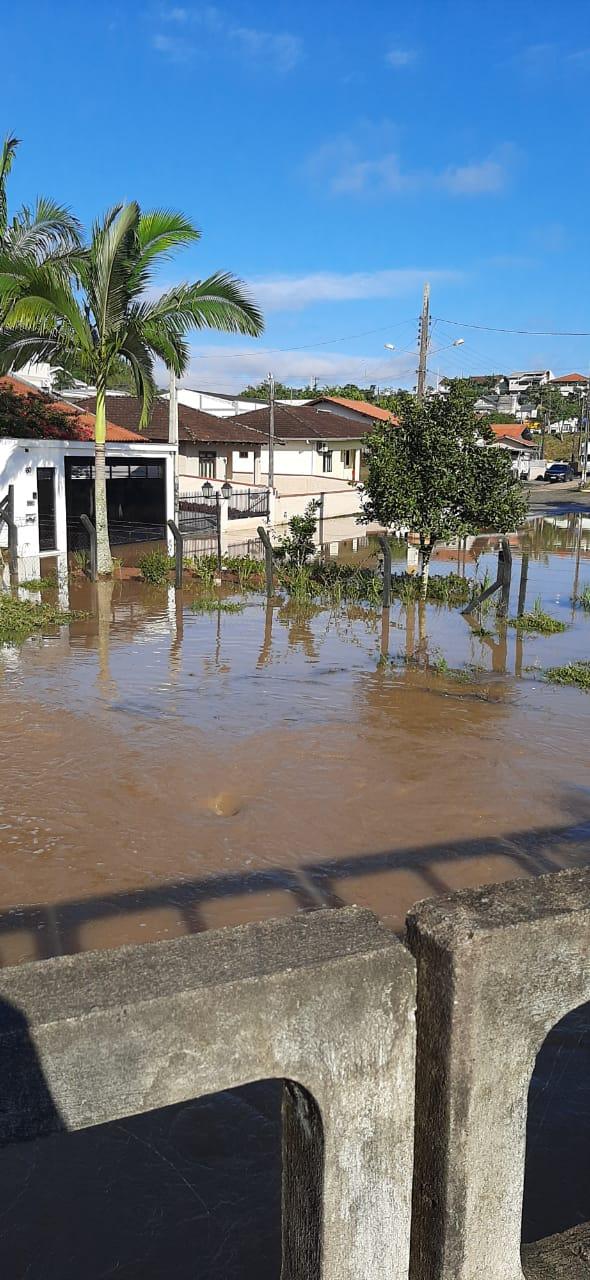 Forte chuva causou alagamento em dois bairros em Gaspar - Divulgação/Defesa Civil de Gaspar/ND