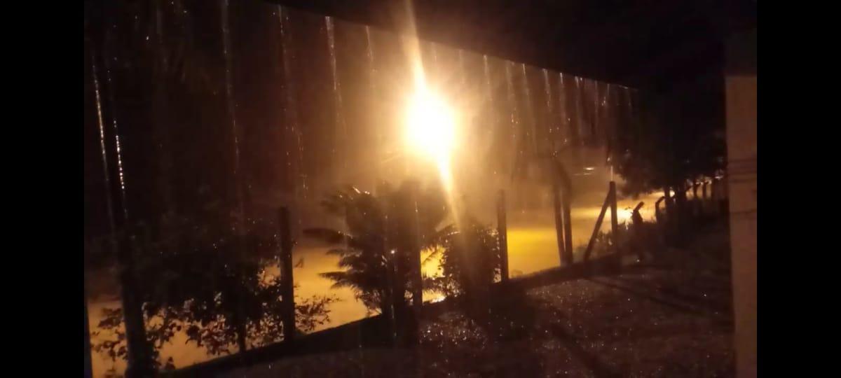 Alto volume de chuva foi registrado na noite desta terça-feira (8) em Brusque - Divulgação/Prefeitura de Brusque/ND