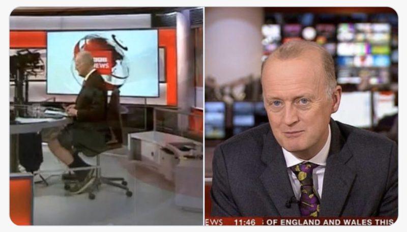 Apresentador da BBC foi flagrado usando bermudas para apresentar jornal – Foto: Reprodução/BBC