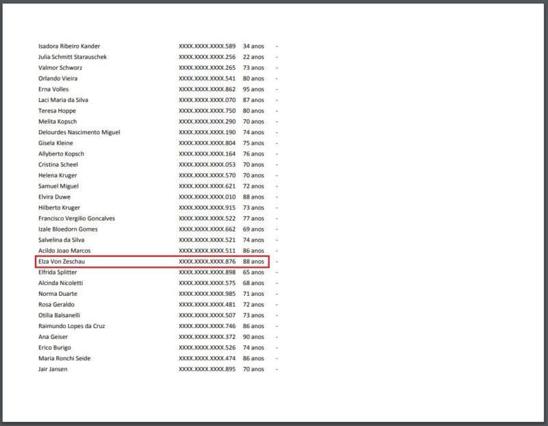 """O nome de """"Elza Von Zeschau"""" aparece na lista de vacinados em Blumenau – mas ela consta como falecida em 2018 – Foto: Reprodução/Prefeitura de Blumenau"""