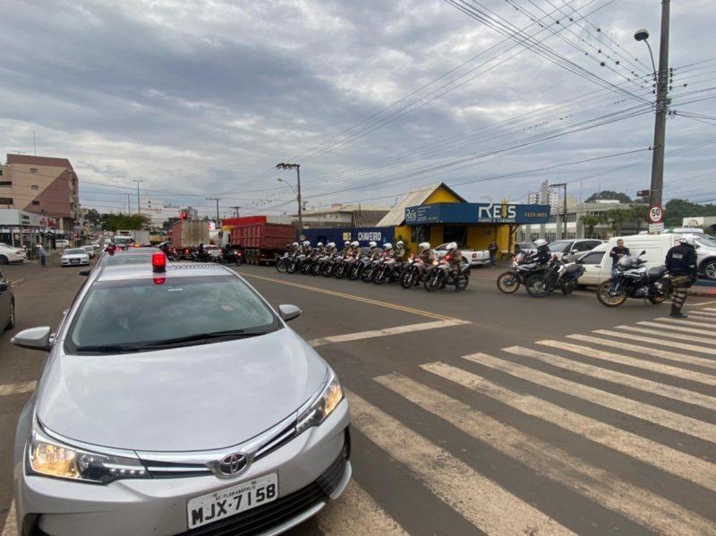 Esquema de segurança esteve em várias ruas e avenidas de Chapecó – Foto: Reprodução/ND