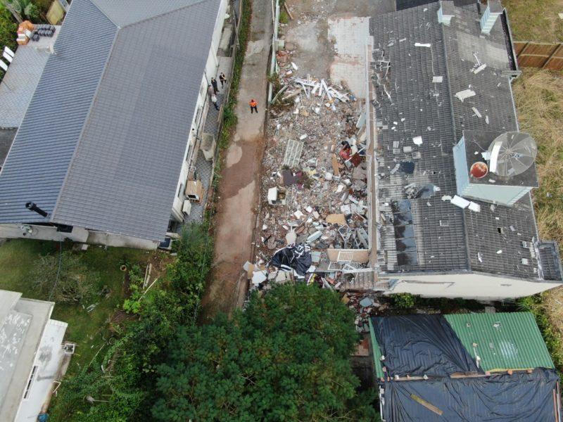 Imagem aérea da explosão em Jurerê