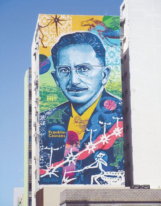 Escritor e folclorista Franklin Cascaes, um dos mais conhecidos florianopolitanos, ganhou a merecida homenagem em um mural no centro da cidade em 2017 - marcos jordão/ND
