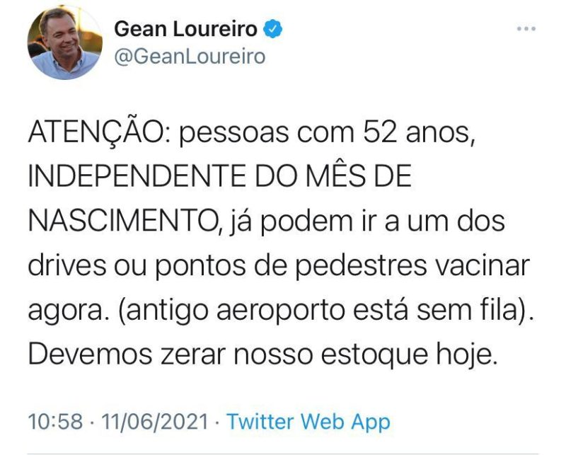 Pessoas cm 52 anos ou mais já podem se vacinar na Capital – Foto: Twitter/Divulgação/ND