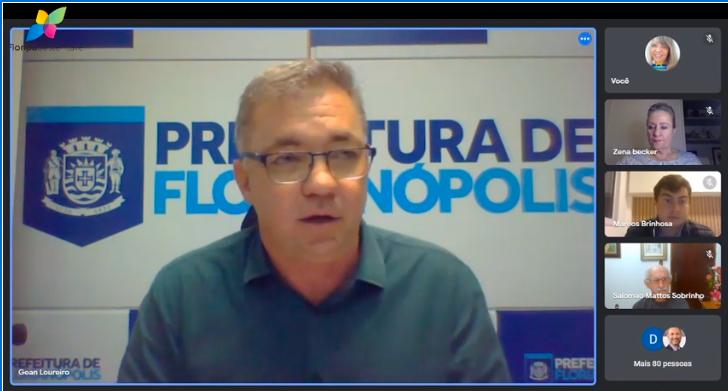 Em encontro virtual com movimento Floripa Sustentável nesta quinta (10), Gean Loureiro garantiu chegar a 50% de vacinados nesta sexta (11) – Foto: YouTube/Reprodução