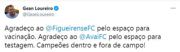 Prefeito Gean Loureiro agradece os clubes da Capital – Foto: Reprodução/Twitter