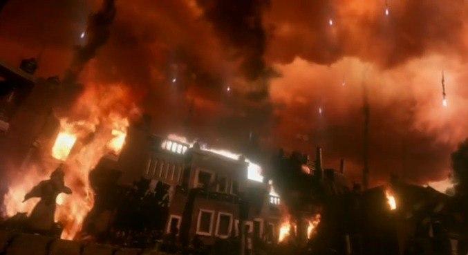 Destruição de Sodoma teve explosões reais no set – Foto: Reprodução/RecordTV
