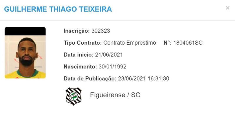 Registro de Guilherme Teixeira no BID da CBF