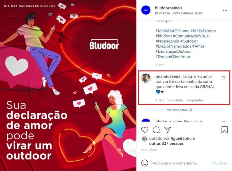 Orlando escreveu a frase selecionada no post da promoção – e ela foi parar num outdoor – Foto: Reprodução/Redes Sociais