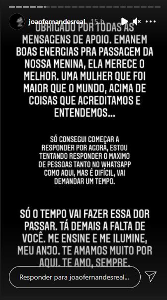 João Fernandes falou sobre morte de Mabel Calzolari – Foto: Instagram/Divulgação/N