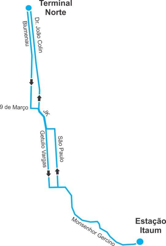 Itinerário da Linha Expressa Norte/Itaum