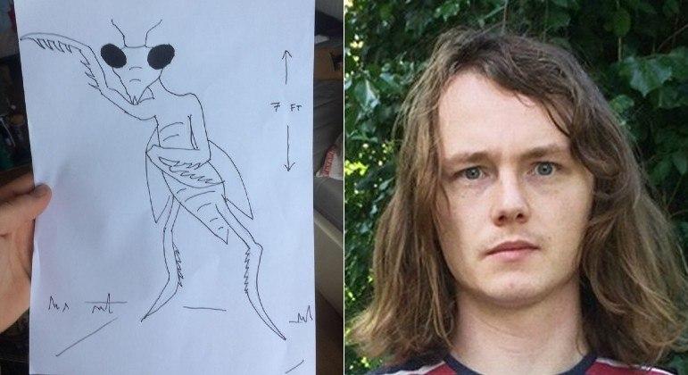 Paul Froggatt, 26, afirma ter encontra um E.T. de 2,13 m de altura e aparência de louva-a-deus – Foto: Paul Froggatt/Reprodução/R7