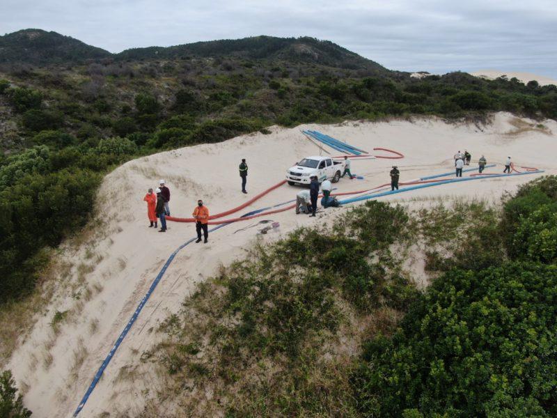 Casan instala motobombas em lagoa artificial – Foto: Defesa Civil de Florianópolis/Alexandre Vieira/Divulgação/ND