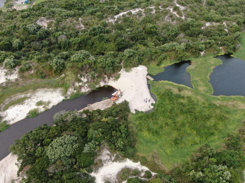 Lagoa artificial da Casan está a meio metro do limite total – Foto: Divulgação/ Alexandre Vieira/Defesa Civil