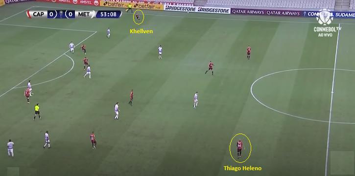Thiago Heleno tem excelente diagonal longa – Foto: Reprodução/Conmebol TV