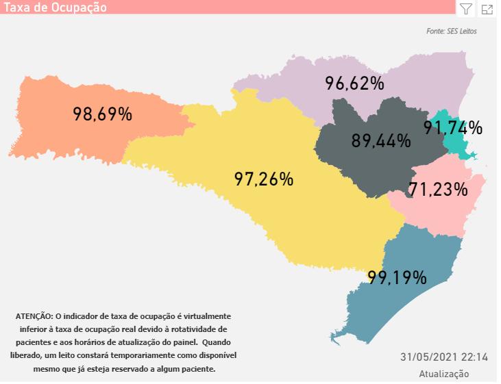 Mapa mostra a situação dos leitos de UTI em Santa Catarina – Foto: SES/Divulgação