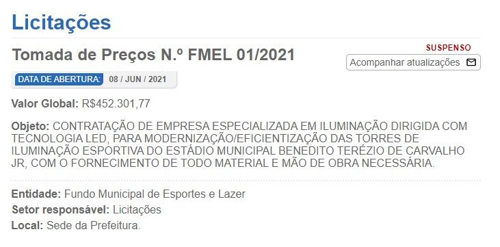 Prefeitura de Canoinhas suspendeu licitação de iluminação do Ditão – Foto: Prefeitura de Canoinhas