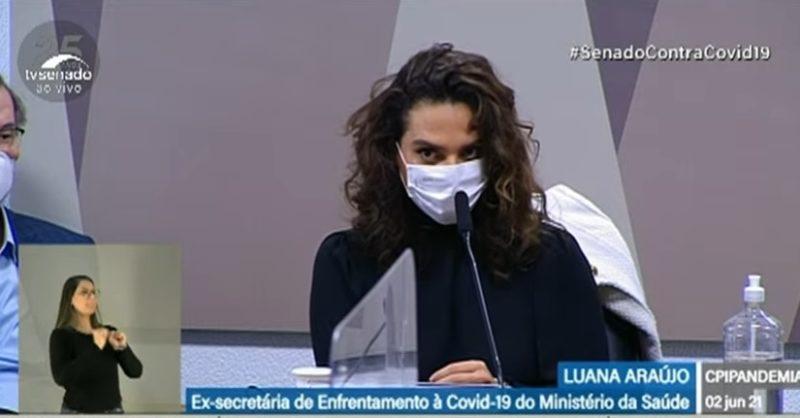 Luana Araújo presta depoimento nesta quarta (2) na CPI da Covid, no Senado – Foto: Reprodução/TV Senado