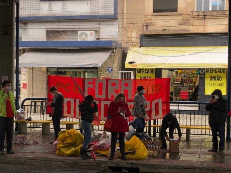 Manifestantes se reuniram no terminal velho, em Florianópolis – Foto: PM/Divulgação
