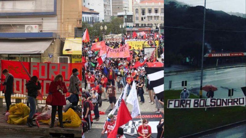 Manifestações ocorreram em várias cidades, como Florianópolis, Campinas e São Bento do Sul – Foto: Arte/Redes sociais/ND
