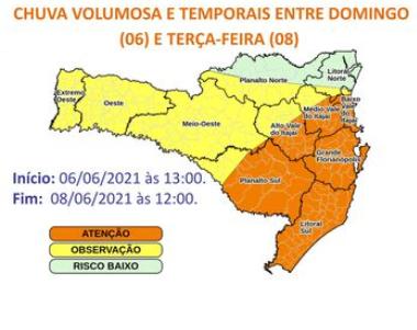 Alerta emitido pela Defesa Civil de SC alerta para alto volume de chuvas em todo o Estado. – Foto: Reprodução/Defesa Civil SC/ND