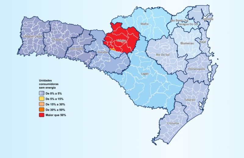 Mapa mostra a situação do abastecimento elétrico em SC – Foto: Celesc/Reprodução/ND