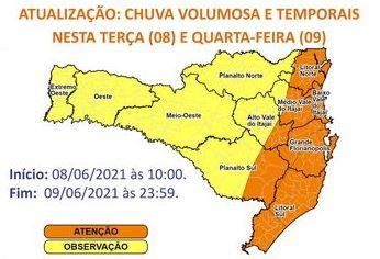 Santa Catarina terá temporais entre esta terça (8) e quarta-feira (9) – Foto: Divulgação/Defesa Civil