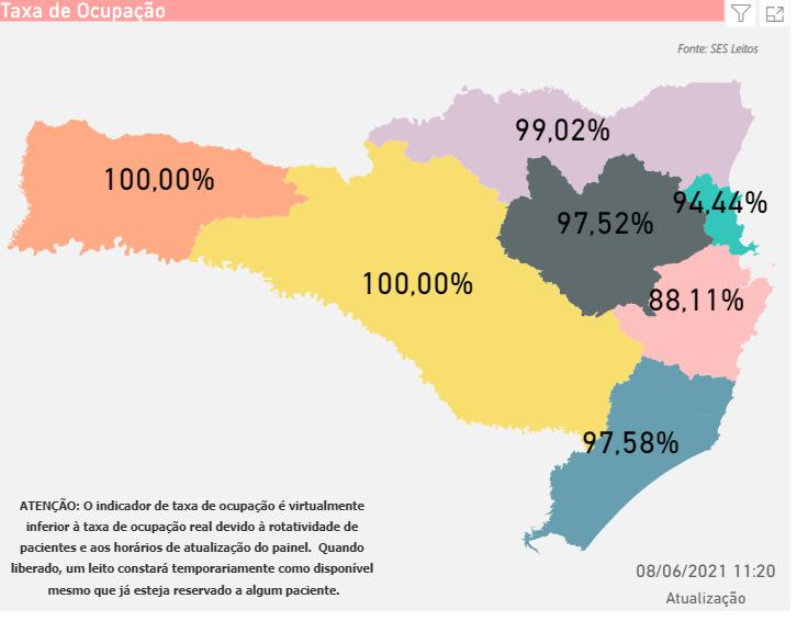 Mapa mostra a taxa de ocupação dos leitos de UTI em Santa Catarina – Foto: SES/Divulgação
