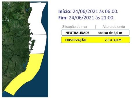Mar agitado em SC – Foto: Defesa Civil de SC/Divulgação/ND