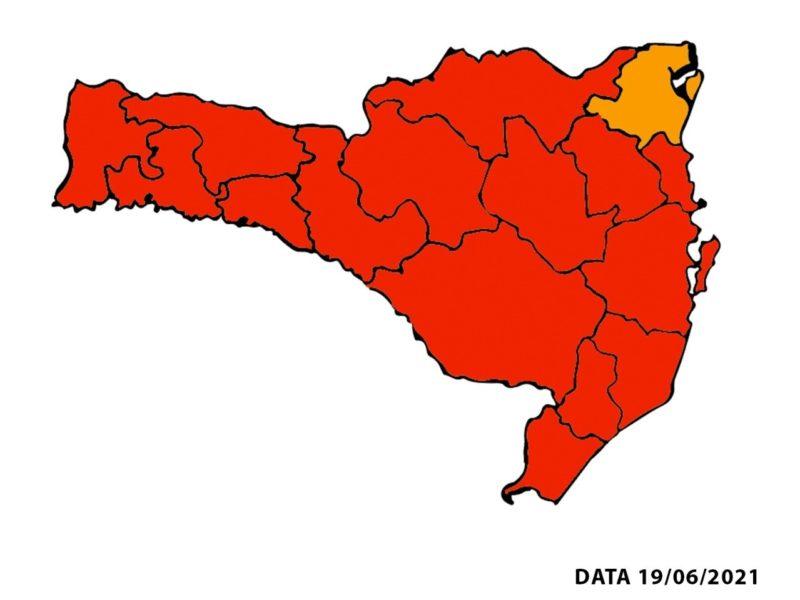 Novo mapa de risco mostra apenas uma região em nível grave – Foto: SES/Divulgação