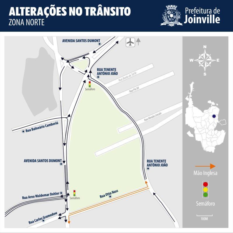 Alterações no trânsito passam a valer a partir do próximo domingo (6) – Foto: Prefeitura de Joinville