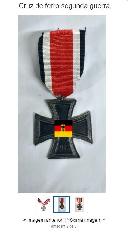 """Alguns artigos mais destacados que fazem alusão ao nazismo não paarecem mais na busca da loja, mas itens mais """"discretos"""", como uma réplica da cruz de ferro, podem ser encontrados – Foto: Reprodução/ND"""