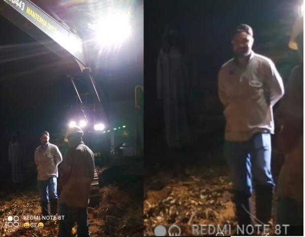 Noiva fantasma aparece ao fundo de foto tirada por trabalhadores – Foto: Divulgação/ND