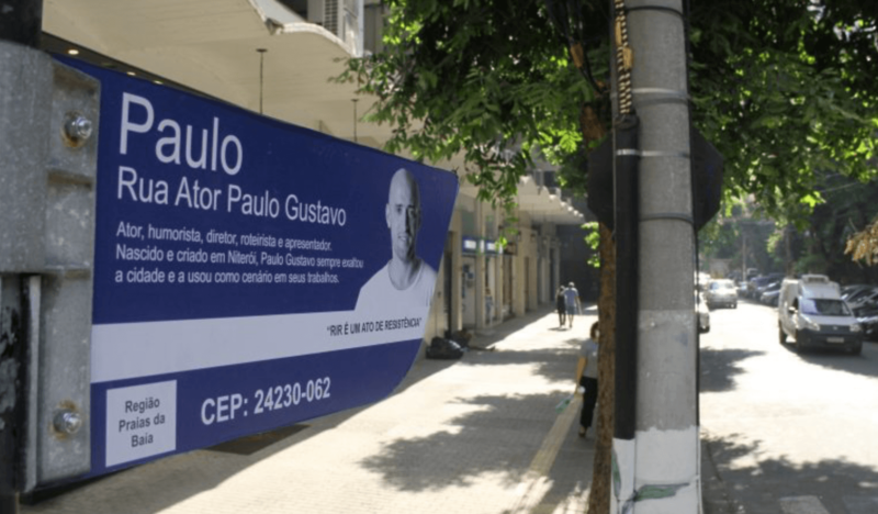 Nome da rua Ator Paulo Gustavo virou campo de batalha entre niteroienses e comerciantes da rua – Foto: Reprodução