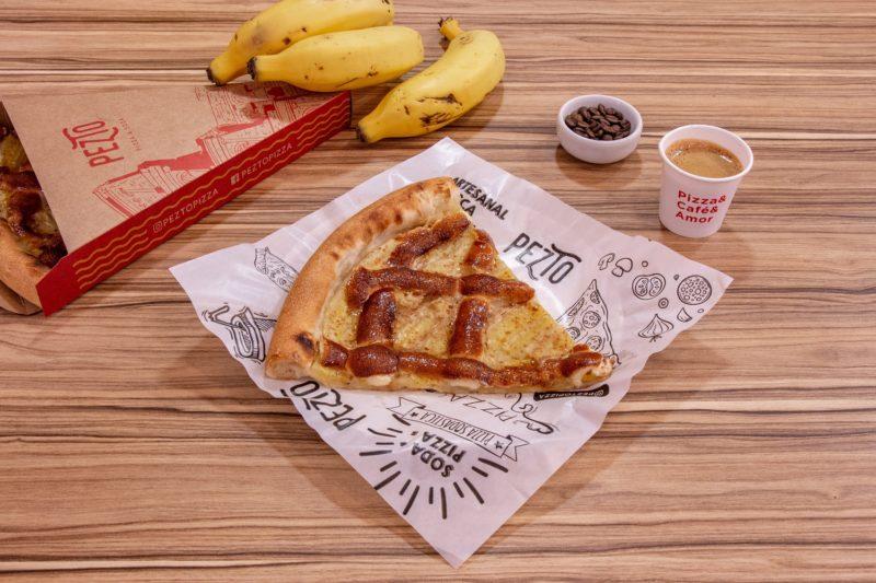 Pizza de Banana Nevada – Foto: Pezto Pizza & Soda (Florianópolis)