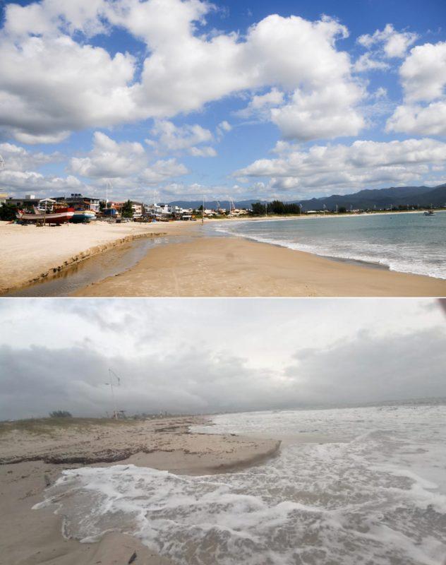 Antes e depois da praia da Pinheira, em Palhoça – Foto: Leo Munhoz/ND e Walter João Jorge Junior