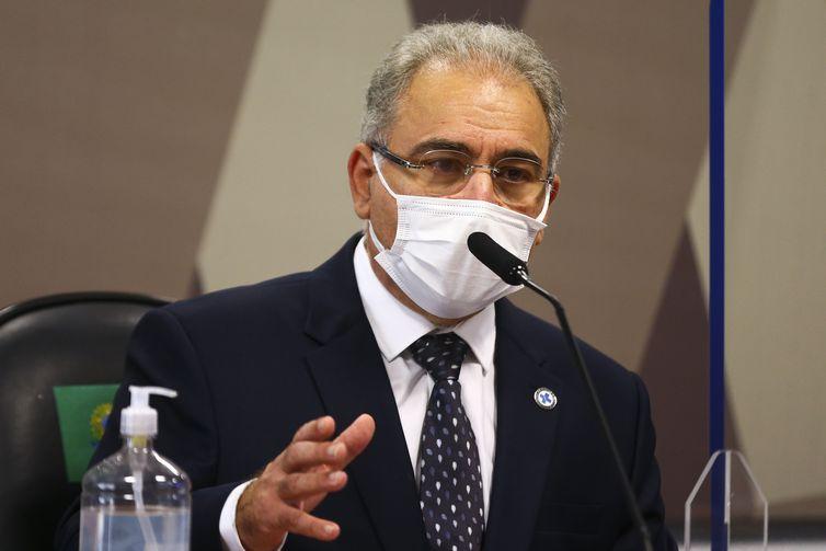 O ministro da Saúde, Marcelo Queiroga, é ouvido novamente durante sessão da CPI da Pandemia, no Senado. – Foto: Marcelo Camargo/Agência Brasil/Arquivo/ND