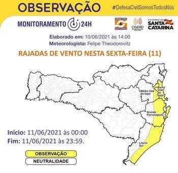 Há chances de rajadas fortes de vento em toda a área amarela do mapa – Foto: Defesa Civil/Divulgação