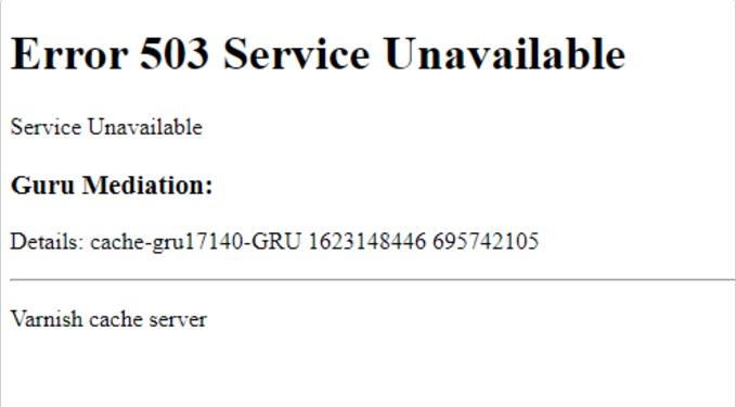 Mensagem de erro em site aponta falha mundial – Foto: Reprodução